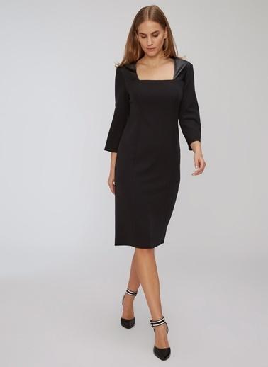People By Fabrika Yakada Suni Deri Detaylı Elbise Siyah